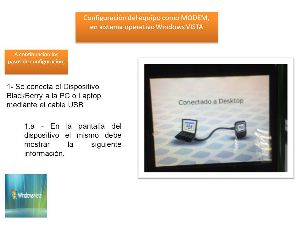 1- Se conecta el Dispositivo BlackBerry a la PC o Laptop, mediante el cable USB.