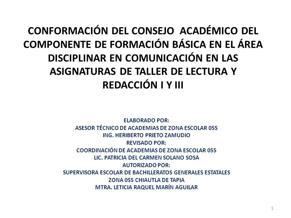 CONFORMACIÓN DEL CONSEJO ACADÉMICO DEL COMPONENTE DE FORMACIÓN BÁSICA EN EL ÁREA DISCIPLINAR EN COMUNICACIÓN EN LAS ASIGNATURAS DE TALLER DE LECTURA Y