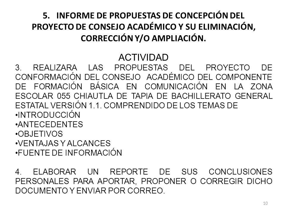 10 5. INFORME DE PROPUESTAS DE CONCEPCIÓN DEL PROYECTO DE CONSEJO ACADÉMICO Y SU ELIMINACIÓN, CORRECCIÓN Y/O AMPLIACIÓN. ACTIVIDAD 3. REALIZARA LAS PR