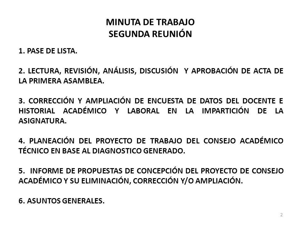 MINUTA DE TRABAJO SEGUNDA REUNIÓN 1. PASE DE LISTA. 2. LECTURA, REVISIÓN, ANÁLISIS, DISCUSIÓN Y APROBACIÓN DE ACTA DE LA PRIMERA ASAMBLEA. 3. CORRECCI