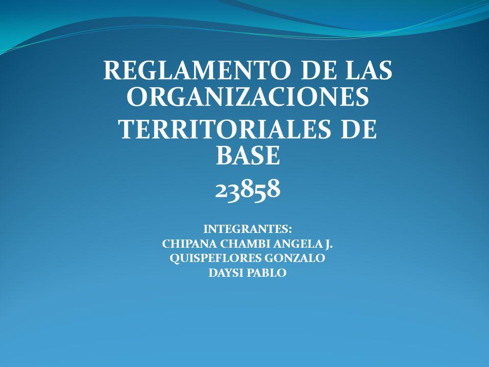 REGLAMENTO DE LAS ORGANIZACIONES TERRITORIALES DE BASE 23858 INTEGRANTES: CHIPANA CHAMBI ANGELA J. QUISPEFLORES GONZALO DAYSI PABLO