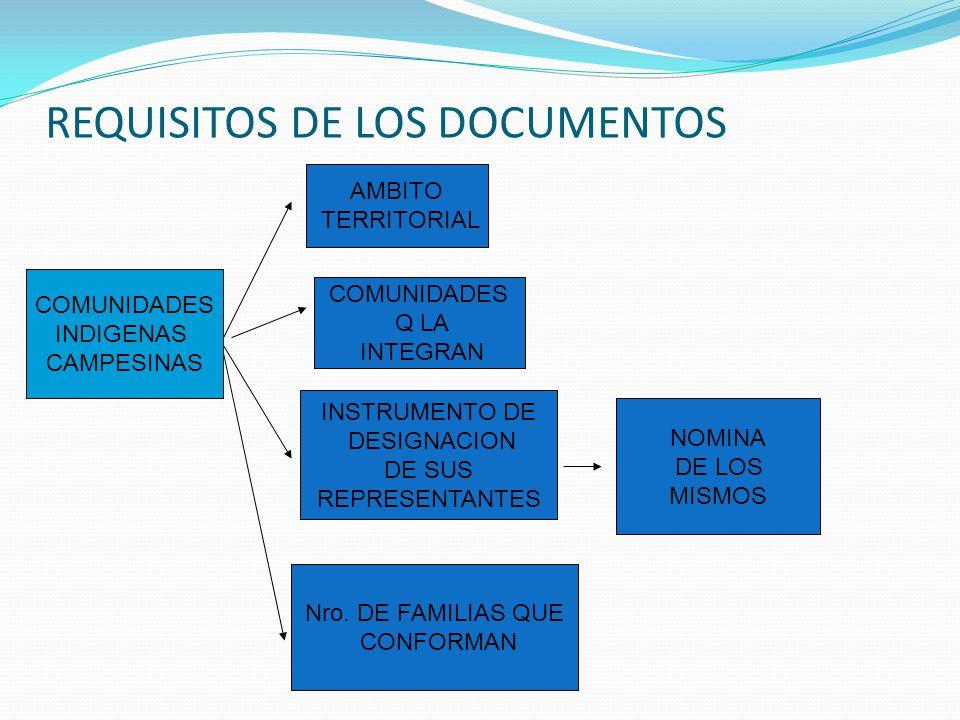 REQUISITOS DE LOS DOCUMENTOS COMUNIDADES INDIGENAS CAMPESINAS AMBITO TERRITORIAL COMUNIDADES Q LA INTEGRAN INSTRUMENTO DE DESIGNACION DE SUS REPRESENTANTES NOMINA DE LOS MISMOS Nro.