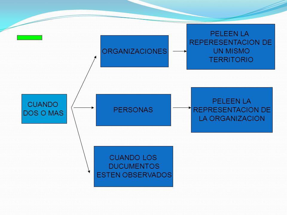 CUANDO DOS O MAS ORGANIZACIONES PELEEN LA REPERESENTACION DE UN MISMO TERRITORIO PERSONAS PELEEN LA REPRESENTACION DE LA ORGANIZACION CUANDO LOS DUCUMENTOS ESTEN OBSERVADOS