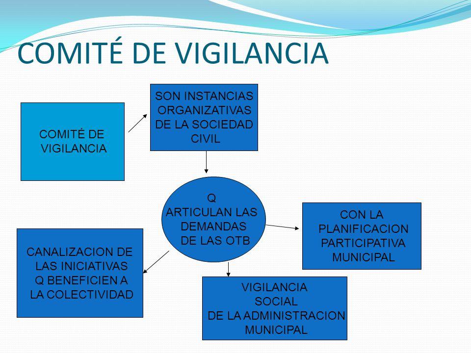 COMITÉ DE VIGILANCIA COMITÉ DE VIGILANCIA SON INSTANCIAS ORGANIZATIVAS DE LA SOCIEDAD CIVIL Q ARTICULAN LAS DEMANDAS DE LAS OTB CON LA PLANIFICACION P