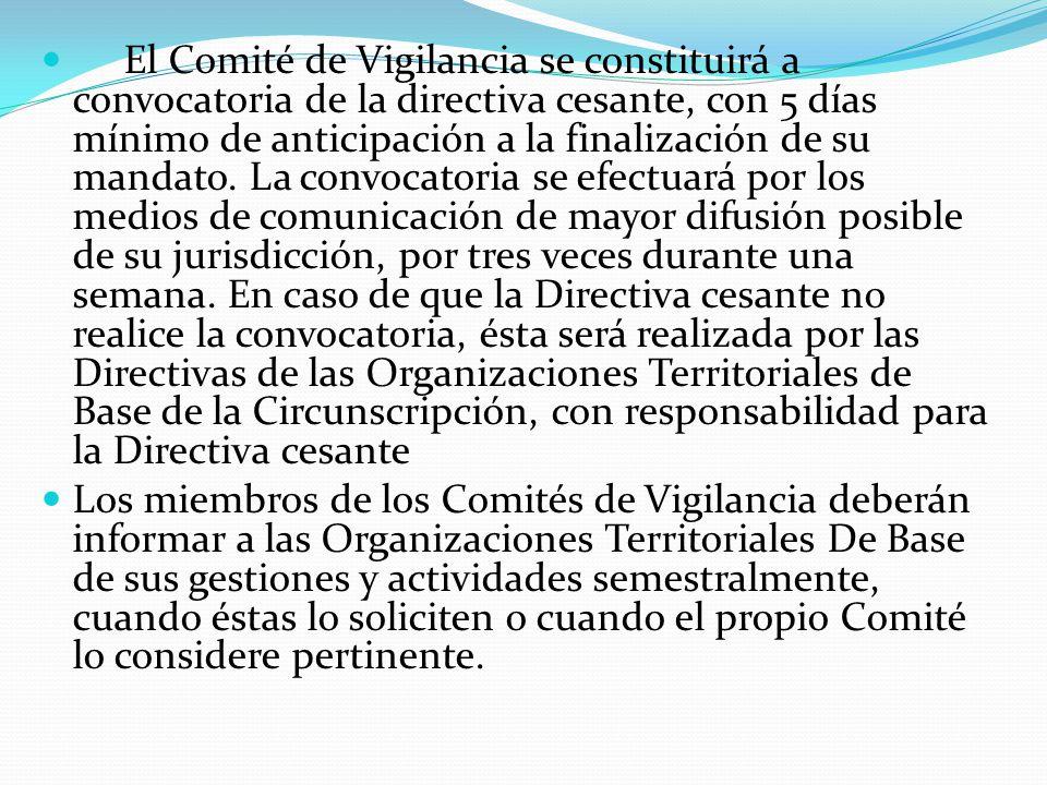 El Comité de Vigilancia se constituirá a convocatoria de la directiva cesante, con 5 días mínimo de anticipación a la finalización de su mandato.