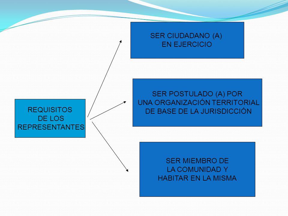 REQUISITOS DE LOS REPRESENTANTES SER CIUDADANO (A) EN EJERCICIO SER POSTULADO (A) POR UNA ORGANIZACIÓN TERRITORIAL DE BASE DE LA JURISDICCIÓN SER MIEM