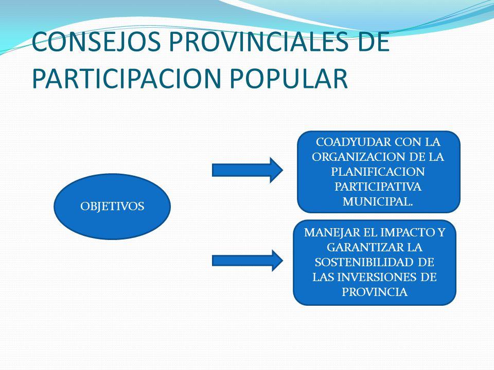 OBJETIVOS COADYUDAR CON LA ORGANIZACION DE LA PLANIFICACION PARTICIPATIVA MUNICIPAL. MANEJAR EL IMPACTO Y GARANTIZAR LA SOSTENIBILIDAD DE LAS INVERSIO