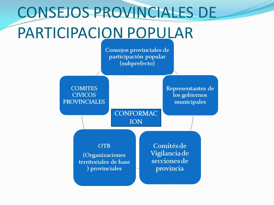 Consejos provinciales de participación popular (subprefecto) Representantes de los gobiernos municipales Comités de Vigilancia de secciones de provincia OTB (Organizaciones territoriales de base ) provinciales COMITES CIVICOS PROVINCIALES CONFORMAC ION
