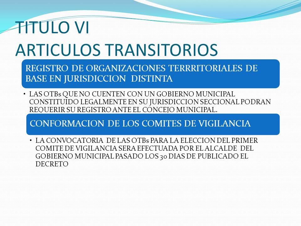 TITULO VI ARTICULOS TRANSITORIOS REGISTRO DE ORGANIZACIONES TERRRITORIALES DE BASE EN JURISDICCION DISTINTA LAS OTBs QUE NO CUENTEN CON UN GOBIERNO MU