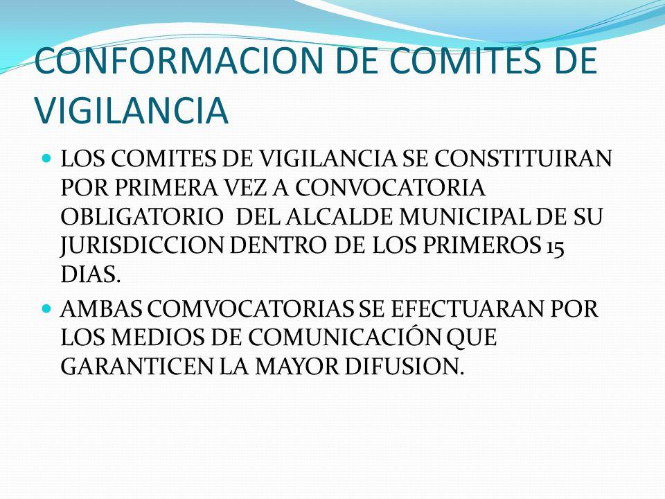 CONFORMACION DE COMITES DE VIGILANCIA LOS COMITES DE VIGILANCIA SE CONSTITUIRAN POR PRIMERA VEZ A CONVOCATORIA OBLIGATORIO DEL ALCALDE MUNICIPAL DE SU JURISDICCION DENTRO DE LOS PRIMEROS 15 DIAS.