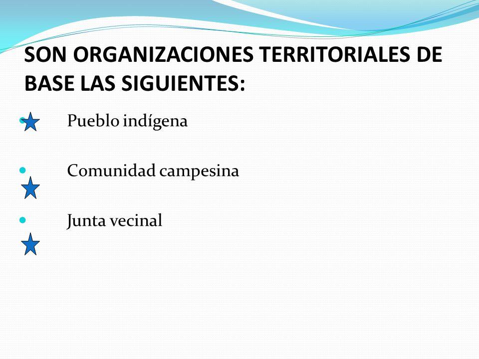 SON ORGANIZACIONES TERRITORIALES DE BASE LAS SIGUIENTES: Pueblo indígena Comunidad campesina Junta vecinal