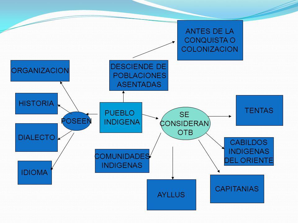 PUEBLO INDIGENA DESCIENDE DE POBLACIONES ASENTADAS ANTES DE LA CONQUISTA O COLONIZACION POSEEN HISTORIA ORGANIZACION IDIOMA DIALECTO SE CONSIDERAN OTB TENTAS CABILDOS INDIGENAS DEL ORIENTE CAPITANIAS AYLLUS COMUNIDADES INDIGENAS