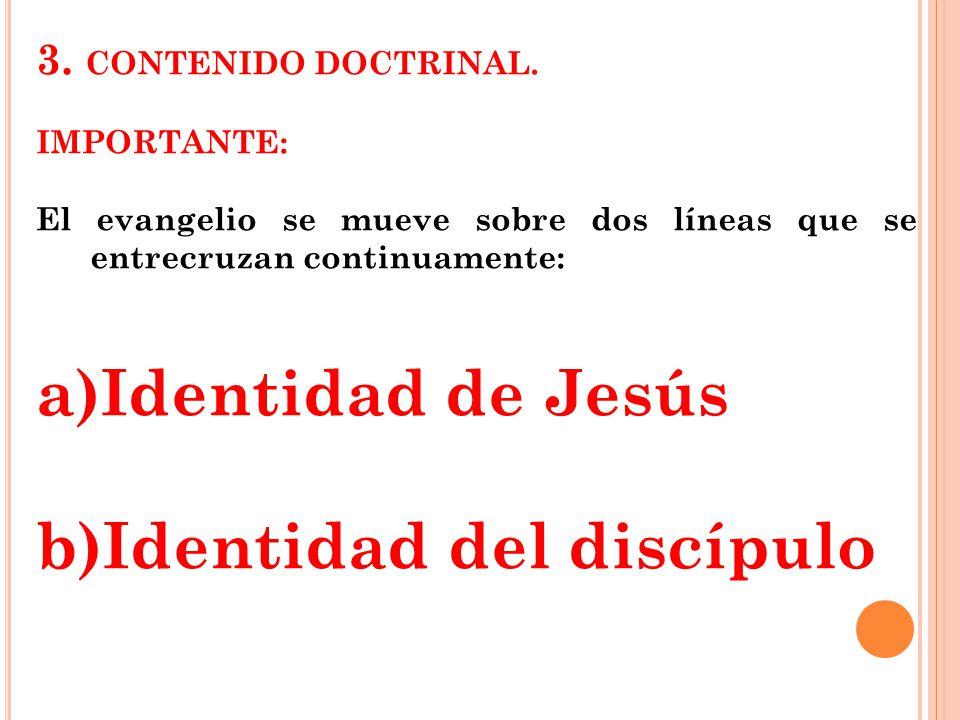 3. CONTENIDO DOCTRINAL. IMPORTANTE: El evangelio se mueve sobre dos líneas que se entrecruzan continuamente: a)Identidad de Jesús b)Identidad del disc