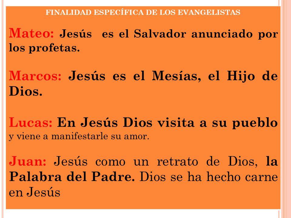 FINALIDAD ESPECÍFICA DE LOS EVANGELISTAS Mateo: Jesús es el Salvador anunciado por los profetas. Marcos: Jesús es el Mesías, el Hijo de Dios. Lucas: E