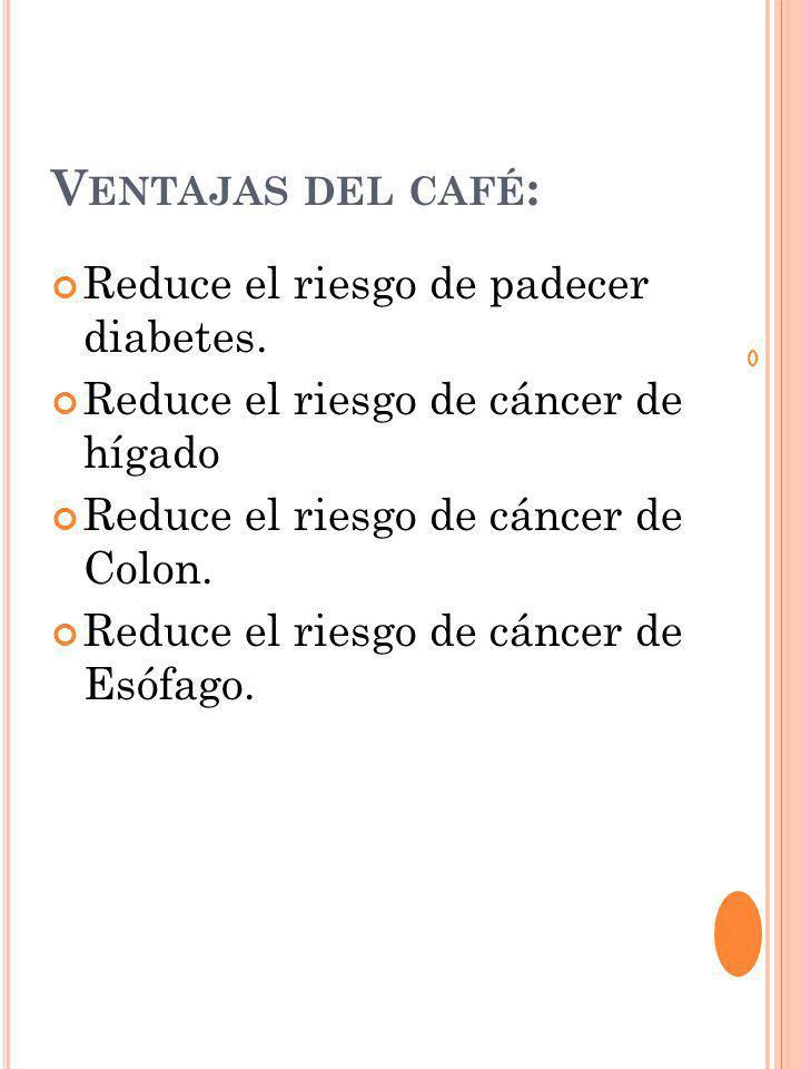 V ENTAJAS DEL CAFÉ : Reduce el riesgo de padecer diabetes.