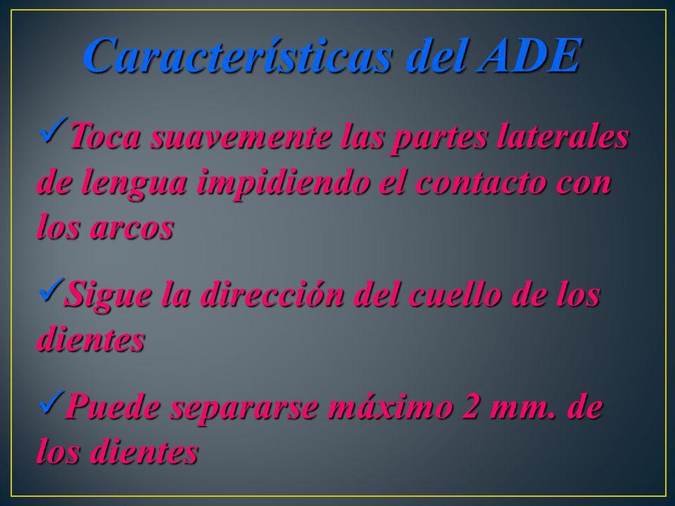 Características del ADE Toca suavemente las partes laterales de lengua impidiendo el contacto con los arcos Toca suavemente las partes laterales de le