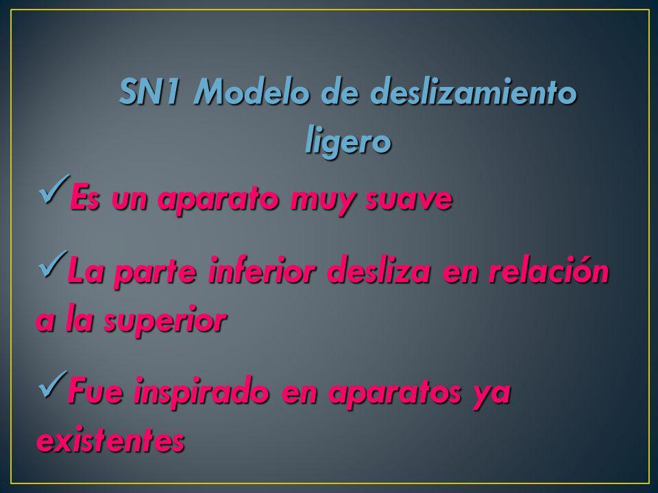 SN1 Modelo de deslizamiento ligero Es un aparato muy suave Es un aparato muy suave La parte inferior desliza en relación a la superior La parte inferi