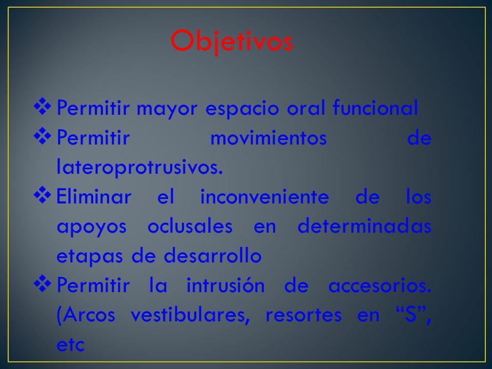 Objetivos Permitir mayor espacio oral funcional Permitir movimientos de lateroprotrusivos. Eliminar el inconveniente de los apoyos oclusales en determ