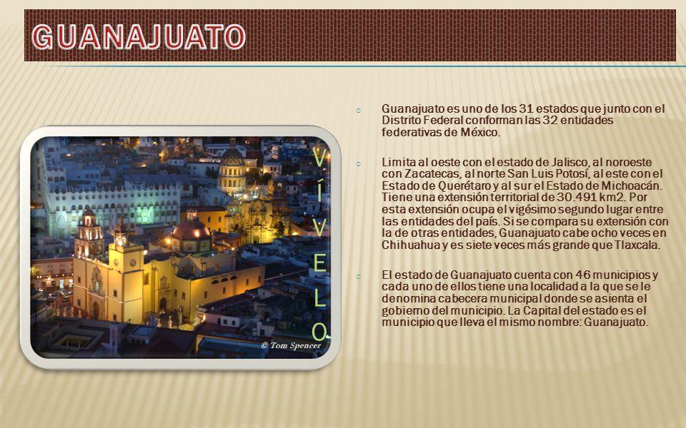 o Guanajuato es uno de los 31 estados que junto con el Distrito Federal conforman las 32 entidades federativas de México.