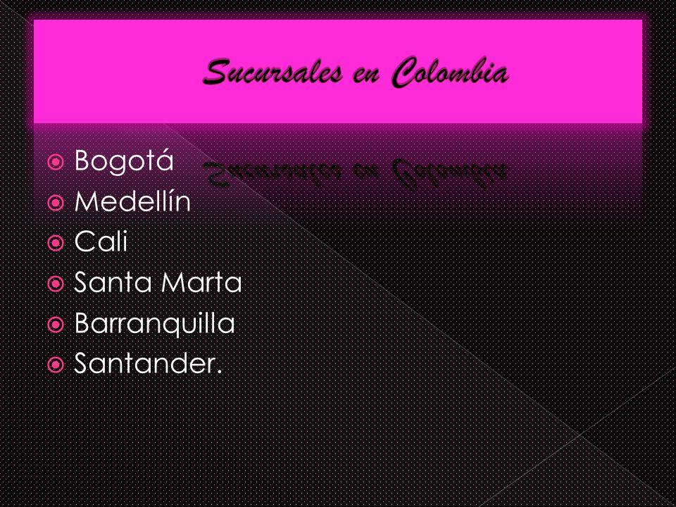 Bogotá Medellín Cali Santa Marta Barranquilla Santander.
