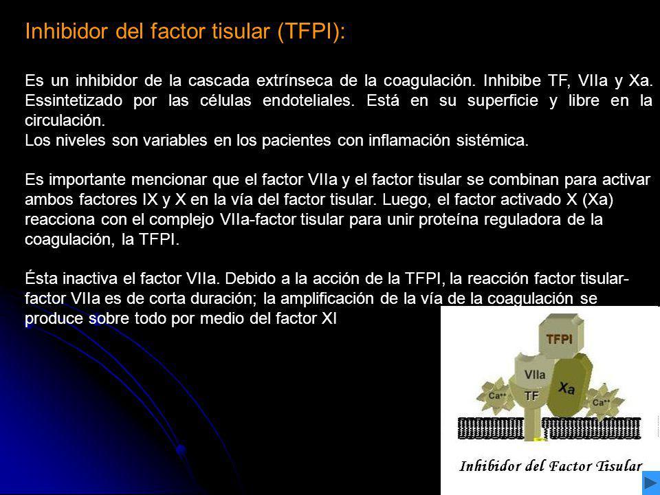 Inhibidor del factor tisular (TFPI): Es un inhibidor de la cascada extrínseca de la coagulación. Inhibibe TF, VIIa y Xa. Essintetizado por las células