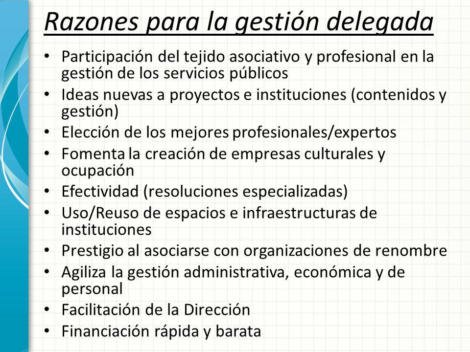 Razones para la gestión delegada Participación del tejido asociativo y profesional en la gestión de los servicios públicos Ideas nuevas a proyectos e