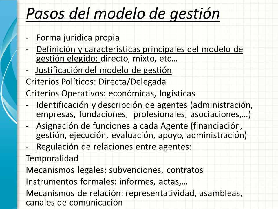 Pasos del modelo de gestión -Forma jurídica propia -Definición y características principales del modelo de gestión elegido: directo, mixto, etc… - Jus