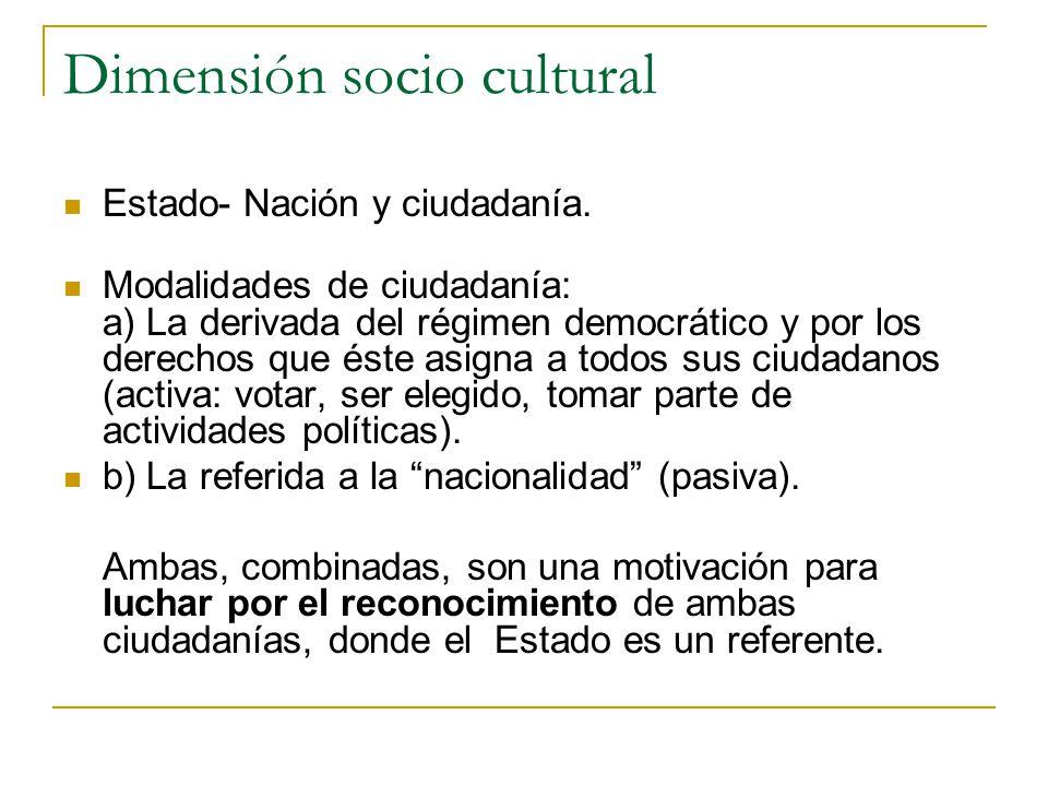 Dimensión socio cultural Estado- Nación y ciudadanía. Modalidades de ciudadanía: a) La derivada del régimen democrático y por los derechos que éste as