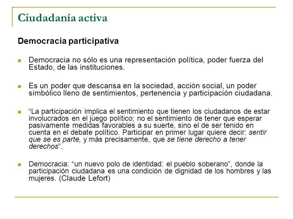 Ciudadanía activa Democracia participativa Democracia no sólo es una representación política, poder fuerza del Estado, de las instituciones.