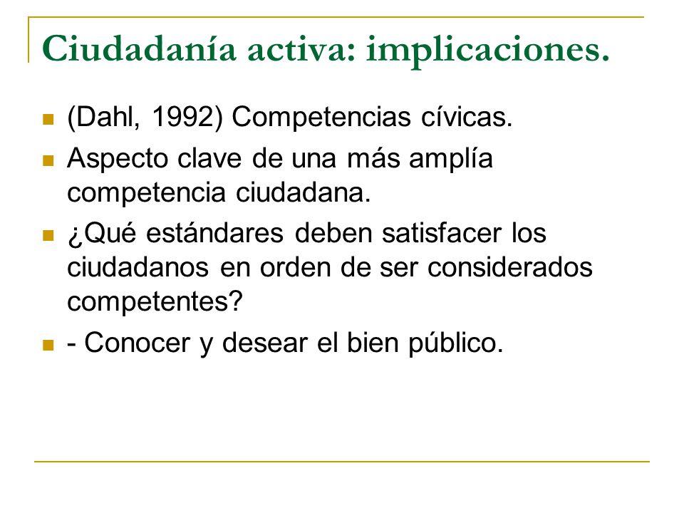 Ciudadanía activa: implicaciones. (Dahl, 1992) Competencias cívicas. Aspecto clave de una más amplía competencia ciudadana. ¿Qué estándares deben sati