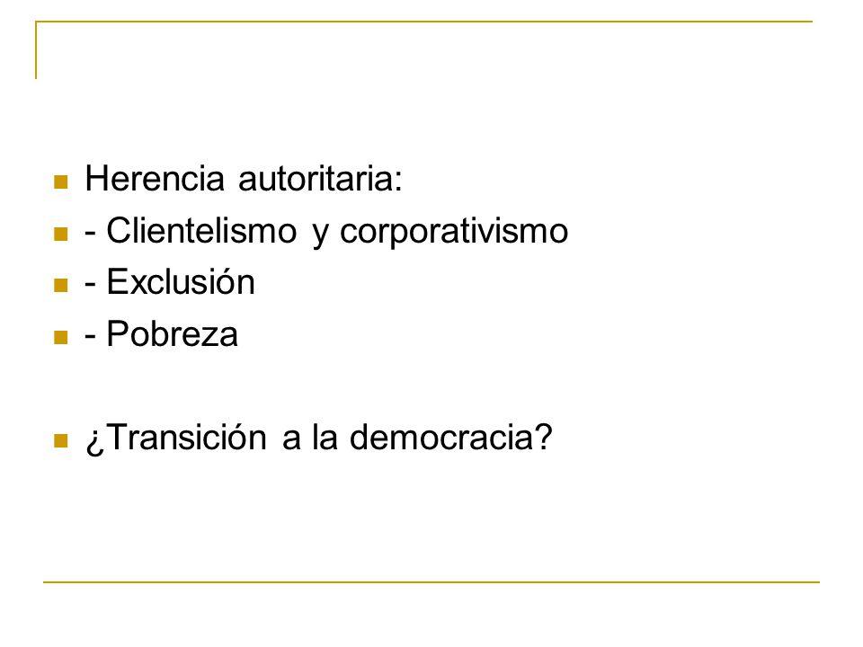 Herencia autoritaria: - Clientelismo y corporativismo - Exclusión - Pobreza ¿Transición a la democracia
