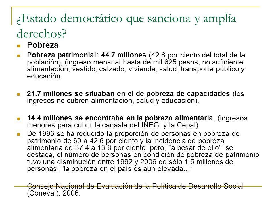 ¿Estado democrático que sanciona y amplía derechos? Pobreza Pobreza patrimonial: 44.7 millones (42.6 por ciento del total de la población), (ingreso m
