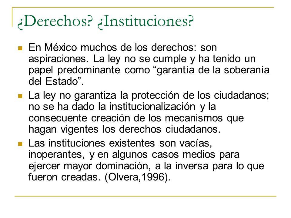¿Derechos? ¿Instituciones? En México muchos de los derechos: son aspiraciones. La ley no se cumple y ha tenido un papel predominante como garantía de