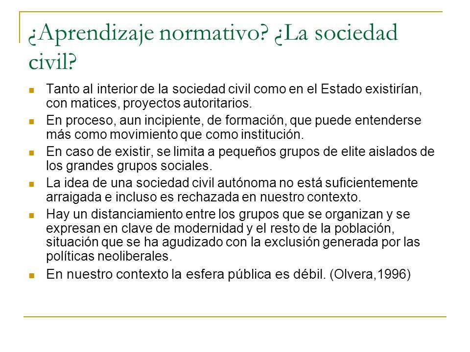 ¿Aprendizaje normativo? ¿La sociedad civil? Tanto al interior de la sociedad civil como en el Estado existirían, con matices, proyectos autoritarios.