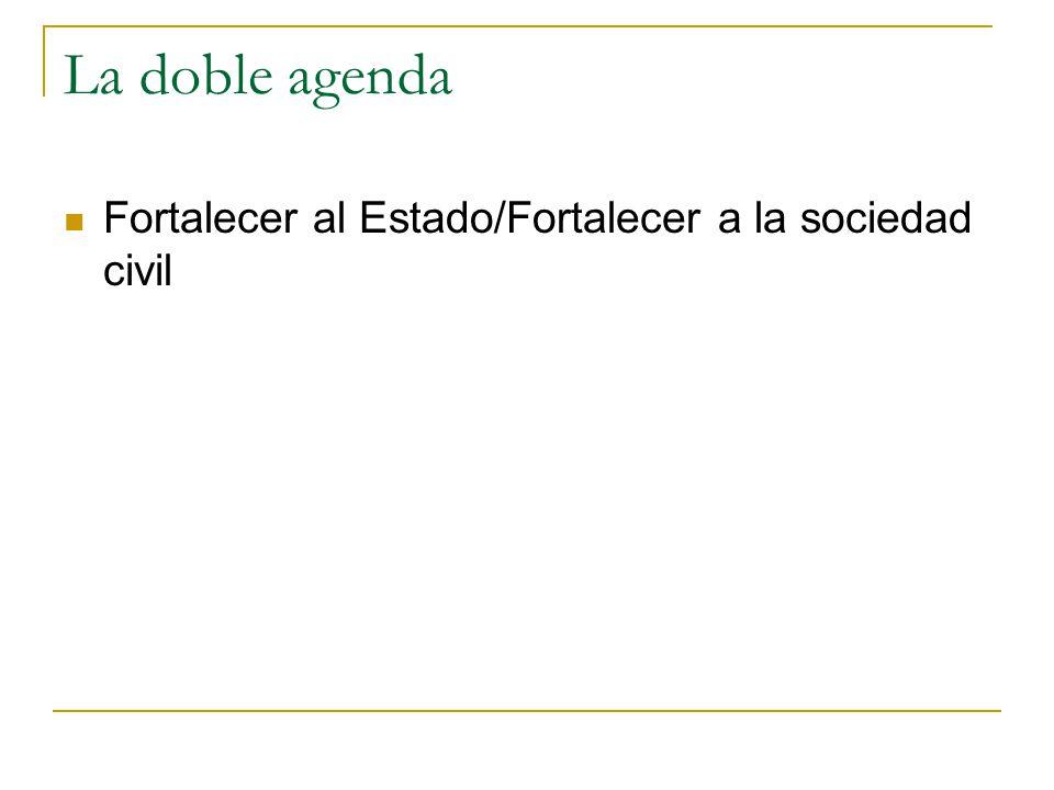 La doble agenda Fortalecer al Estado/Fortalecer a la sociedad civil