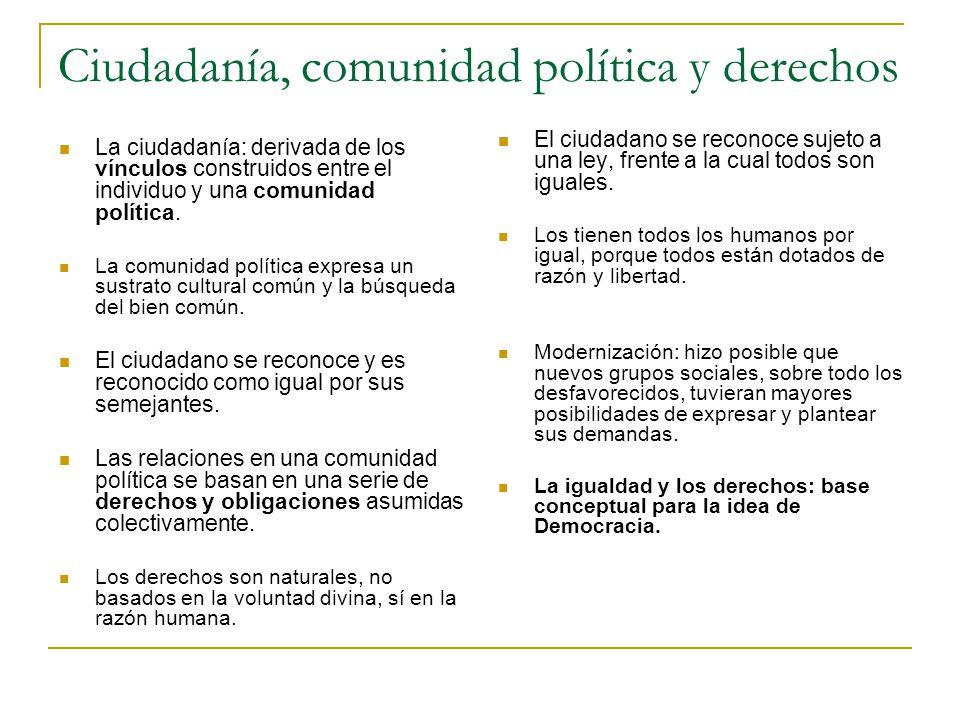 Ciudadanía, comunidad política y derechos La ciudadanía: derivada de los vínculos construidos entre el individuo y una comunidad política. La comunida