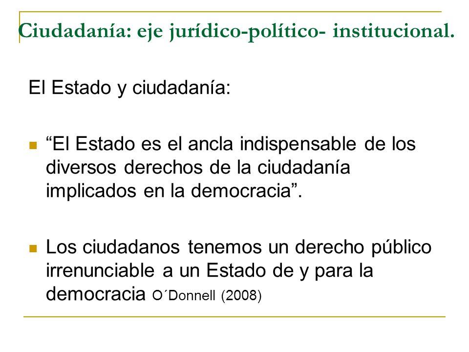 Ciudadanía: eje jurídico-político- institucional. El Estado y ciudadanía: El Estado es el ancla indispensable de los diversos derechos de la ciudadaní