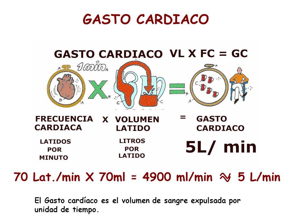 70 Lat./min X 70ml = 4900 ml/min 5 L/min El Gasto cardíaco es el volumen de sangre expulsada por unidad de tiempo.