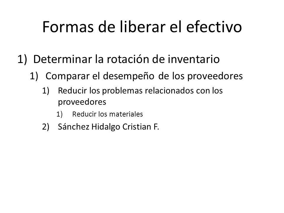 Formas de liberar el efectivo 1)Determinar la rotación de inventario 1)Comparar el desempeño de los proveedores 1)Reducir los problemas relacionados c