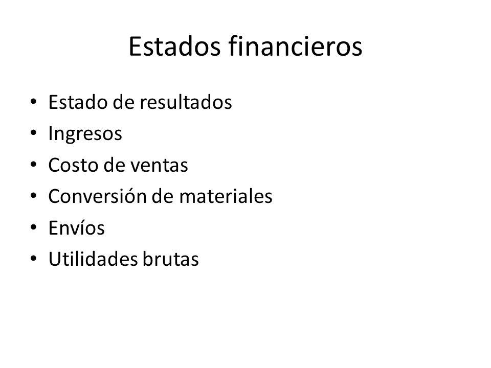 Estados financieros Estado de resultados Ingresos Costo de ventas Conversión de materiales Envíos Utilidades brutas