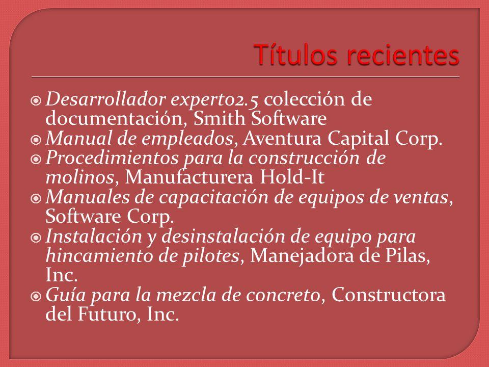 Desarrollador experto2.5 colección de documentación, Smith Software Manual de empleados, Aventura Capital Corp.