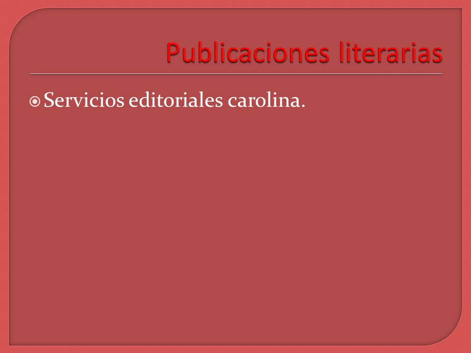 Servicios editoriales carolina.