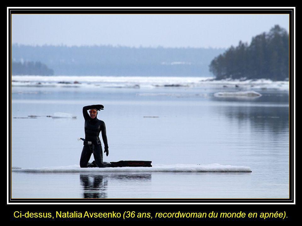 Deux russes, le photographe Viktor Lyagushkin et lapnéïste Natalia Avseenko ont en avril 2011, procédé à des essais dans la mer Blanche, au nord ouest