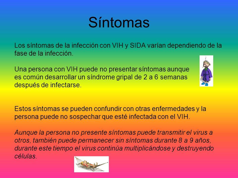 Síntomas Los síntomas de la infección con VIH y SIDA varían dependiendo de la fase de la infección. Una persona con VIH puede no presentar síntomas au