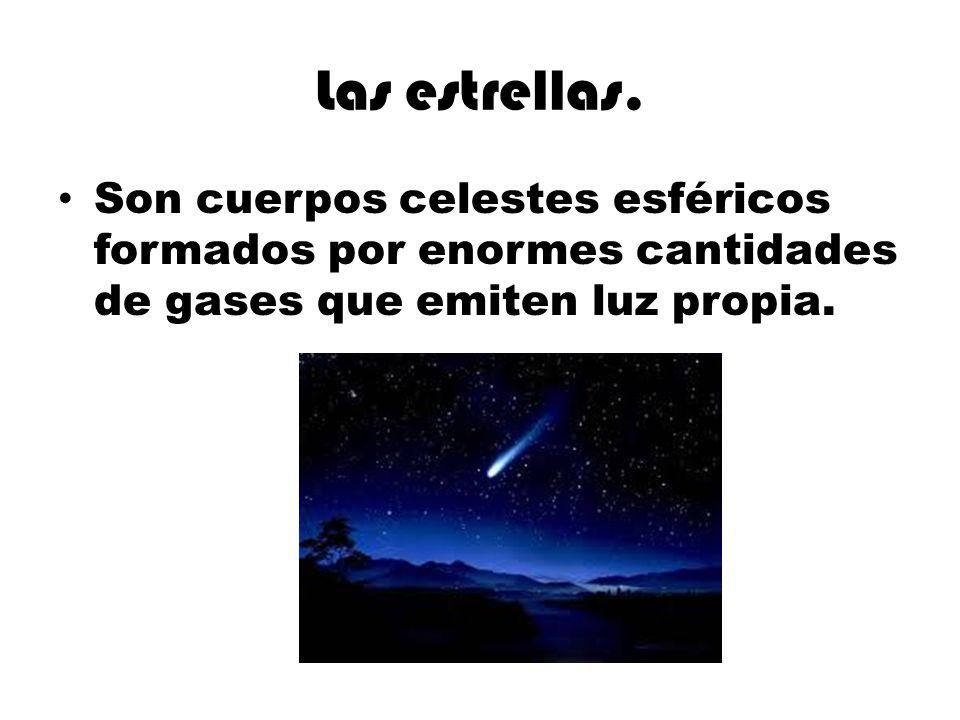 Las estrellas. Son cuerpos celestes esféricos formados por enormes cantidades de gases que emiten luz propia.