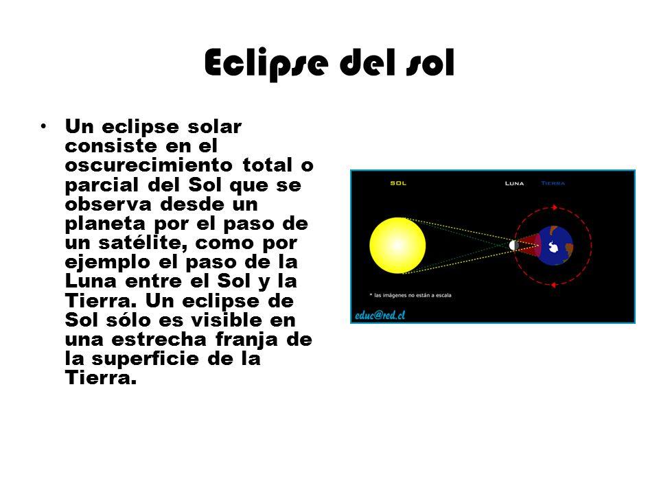 Eclipse del sol Un eclipse solar consiste en el oscurecimiento total o parcial del Sol que se observa desde un planeta por el paso de un satélite, com