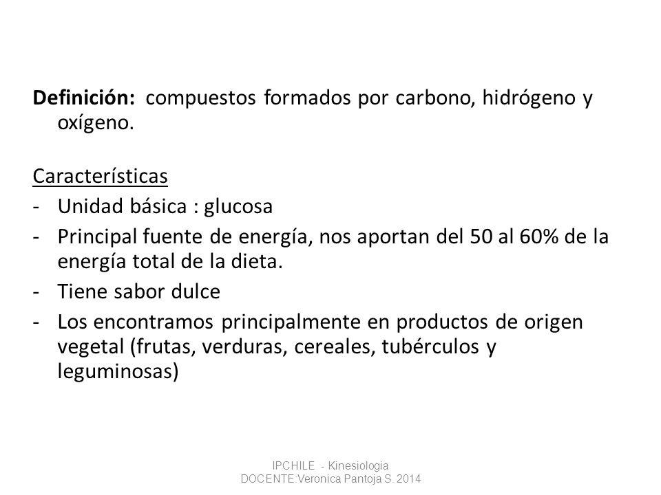 Definición: compuestos formados por carbono, hidrógeno y oxígeno. Características -Unidad básica : glucosa -Principal fuente de energía, nos aportan d