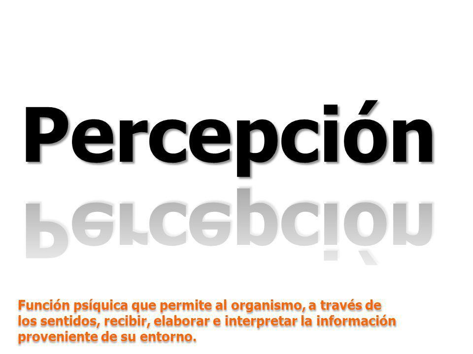 GfK ColombiaLa percepción de un país en un mundo de paradojaJulio 2010 Función psíquica que permite al organismo, a través de los sentidos, recibir, elaborar e interpretar la información proveniente de su entorno.