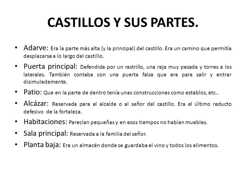 CASTILLOS Y SUS PARTES. Adarve: Era la parte más alta (y la principal) del castillo. Era un camino que permitía desplazarse a lo largo del castillo. P