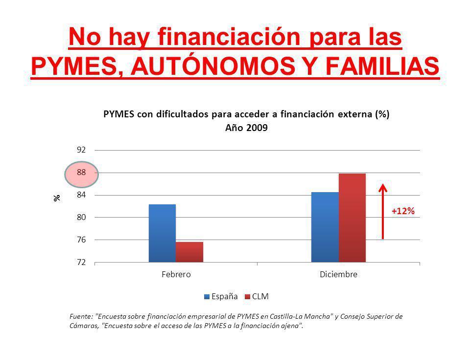 No hay financiación para las PYMES, AUTÓNOMOS Y FAMILIAS Fuente: Encuesta sobre financiación empresarial de PYMES en Castilla-La Mancha y Consejo Superior de Cámaras, Encuesta sobre el acceso de las PYMES a la financiación ajena .